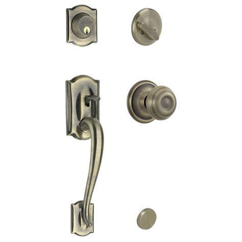 schlage camelot single cylinder antique brass handleset