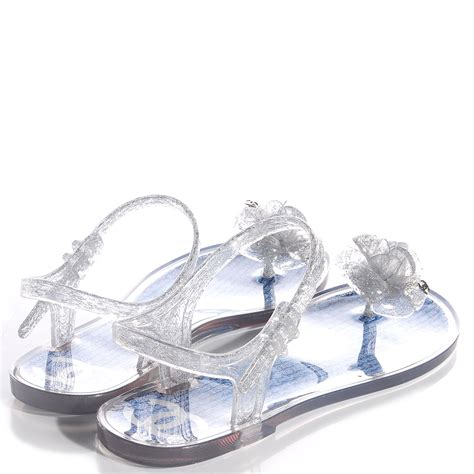 chanel jelly sandals chanel jelly tweed camellia glitter sandals 39 bleu