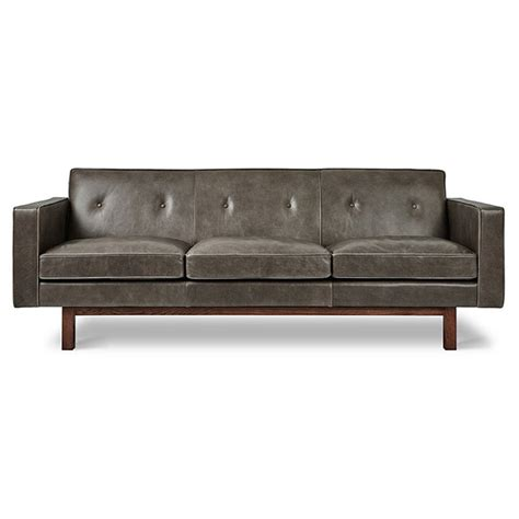 Collectic Home by Gus Modern Embassy Saddle Gray Leather Sofa Eurway