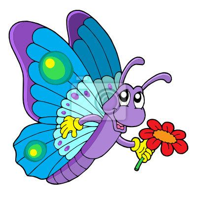 imagenes mariposas caricatura vinilo mariposa linda flor holding caricatura vinilo