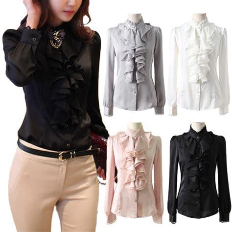 21811 Blouse Graywhite free s h black grey pink white office shirt sleeve blouse shiny lace collar ruffle