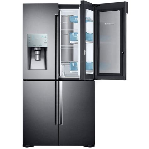 samsung 28 cu ft 4 door flex door refrigerator in black stainless steel rf28k9380sg
