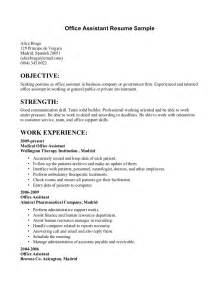 Resume Sles For Office Assistant by Sales Assistant Objective Resume