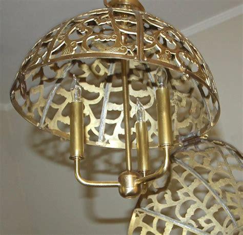 Large Pierced Filigree Brass Japanese Asian Ceiling Japanese Pendant Light