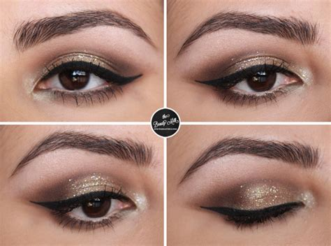 Makeover Powder Eye Shadow chagne and olive glitter makeup look the milk