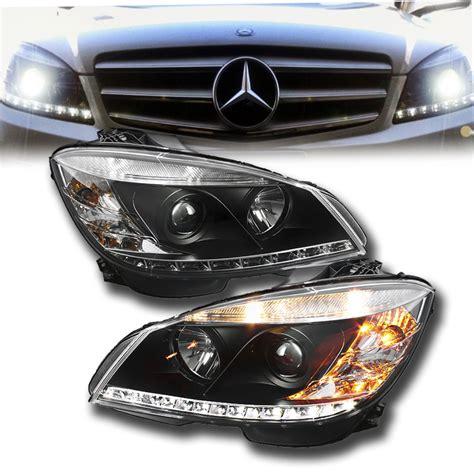 mercedes c class headlights 07 11 m w204 c class led drl projector headlights black
