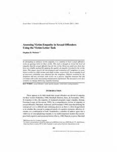 assessing victim empathy in sexual offenders using the