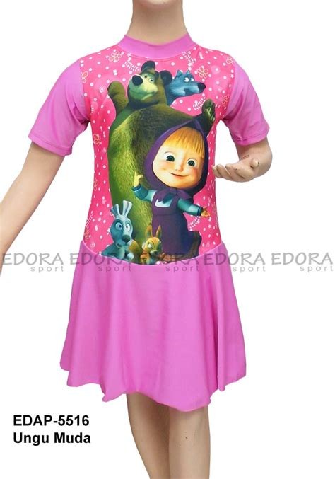 Baju Renang Anak Cewek Baju Renang Anak Rok baju renang diving rok karakter edap 5516 ungu muda