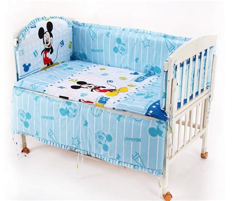 Baby Mickey Mouse Crib Bedding Promotion 6pcs Mickey Mouse Baby Bedding Set 100 Cotton Curtain Crib Bumper Baby Bed Bumper