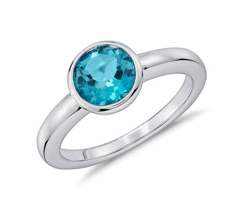 Blue Topaz Set Ring blue topaz bezel set ring in sterling silver 7mm blue nile