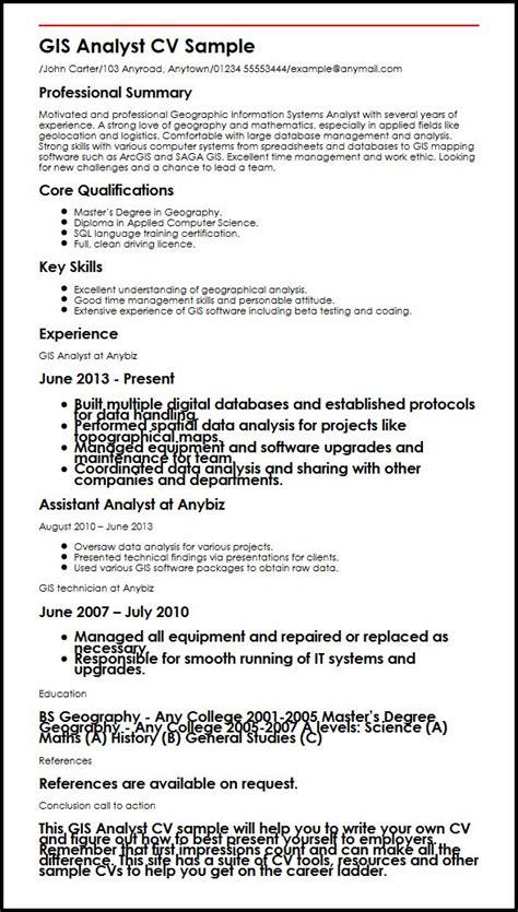 gis analyst cv sample myperfectcv