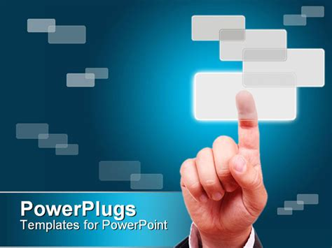 powerpoint layout button powerpoint template a hand pressing a button with a