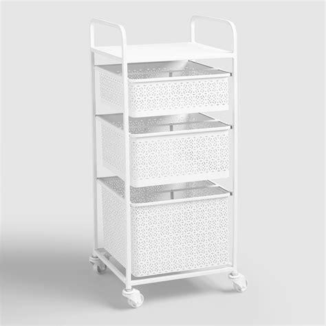 White Rolling Cart With Drawers White Metal 3 Drawer Rolling Cart World Market