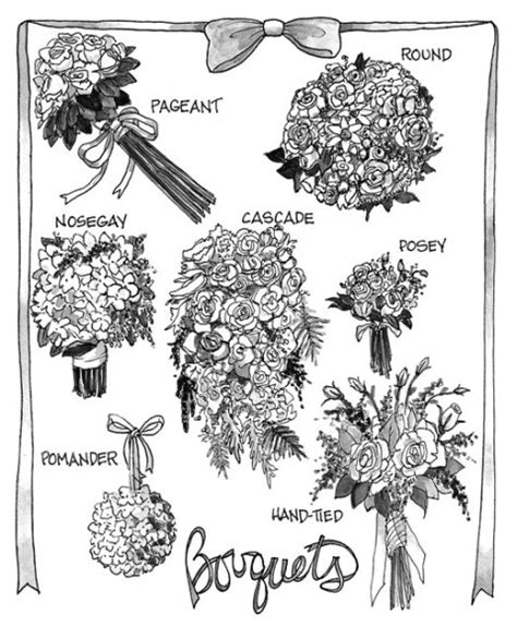 a florist is advertising five types of bouquets bouquet types wedding flowers pinterest