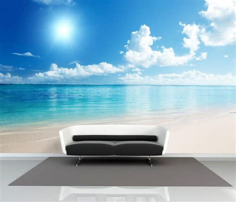 Custom 3d Photo Wallpaper Seascape Palm Wall Covering Mural Roll image gallery wallpaper for bedroom