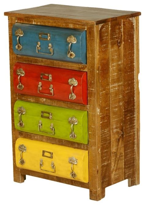 Colorful Chest Of Drawers by Steam Multi Color Mango Wood Iron 4 Drawer Dresser