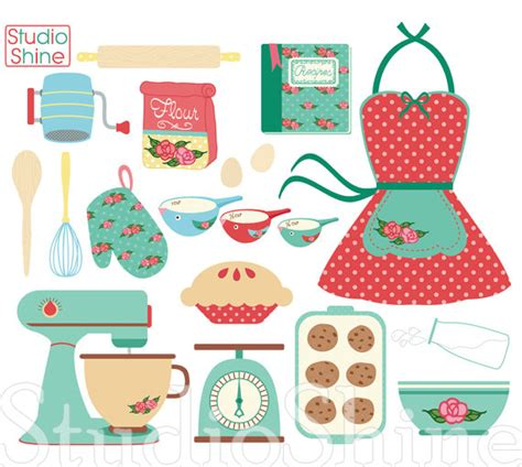 eps clipart retro baking cooking digital clipart set clip png vector