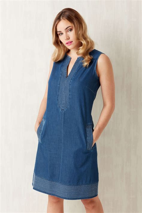 Dress Denim v neck shift denim dress in blue originals uk