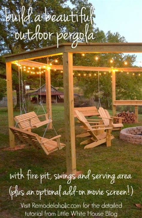 Swings Around Firepit Build An Outdoor Pergola Around A Firepit Including Swings A Serving Area And A Screen
