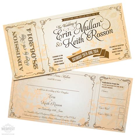 vintage themed wedding stationery vintage ticket style wedding invites wedfest