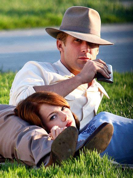 film ryan gosling and emma stone on set ryan gosling emma stone film the gangster squad