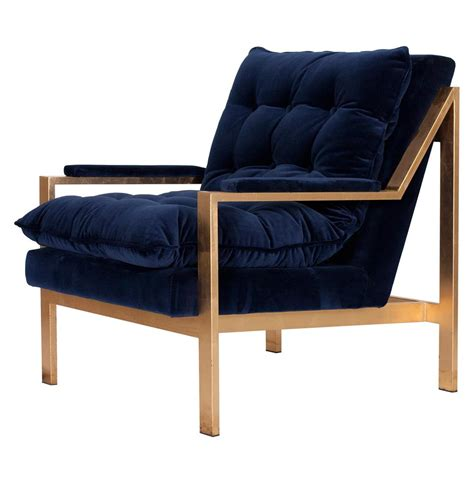 cumulus regency navy blue velvet gold arm chair