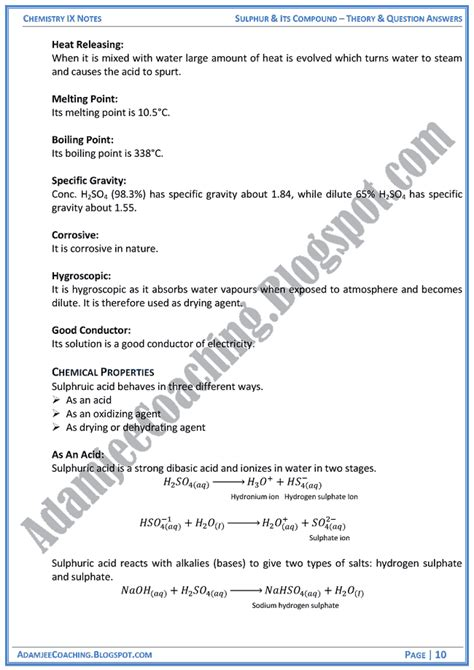 Theory Notes Mba by Adamjee Coaching Sulphur And Its Compound Theory Notes