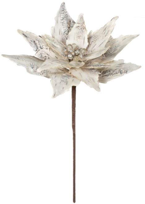 set 12 14 quot white birch poinsettia stem pick spray