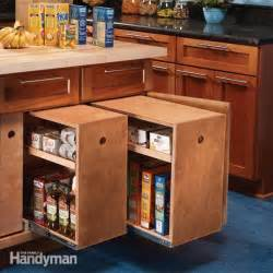 kitchen cabinet storage build organized lower cabinet rollouts for increased kitchen storage the family handyman