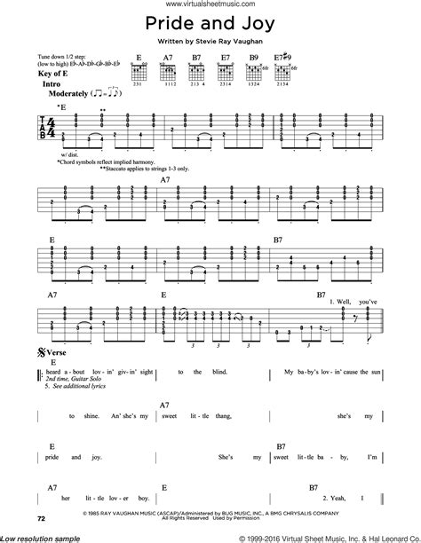 vaughan pride  joy sheet   guitar solo lead sheet