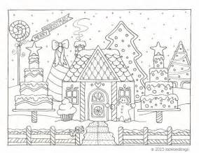 items similar to gingerbread house winter scene coloring