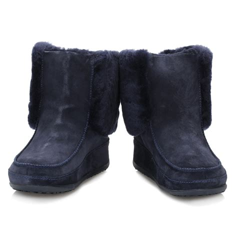 womens navy blue boots fitflop navy blue suede boots supercuff mukluk
