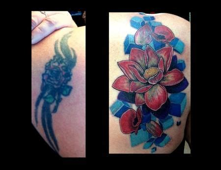 watercolor tattoos before and after before and after cover ups flower coverup