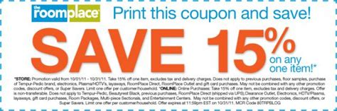 room place coupons special offer for you save 15 on one item the roomplace