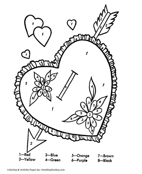 color by number valentines s cards coloring pages color by number