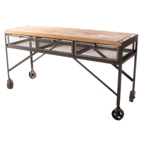 Tribeca Industrial Mesh Drawer Caster Wheel Desk Console Desk Table For
