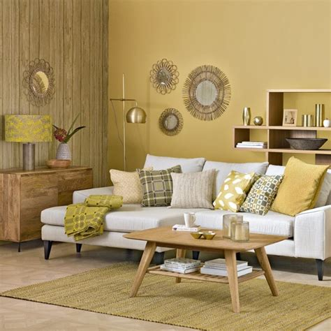 yellow livingroom honeycomb yellow living room with sunburst shades