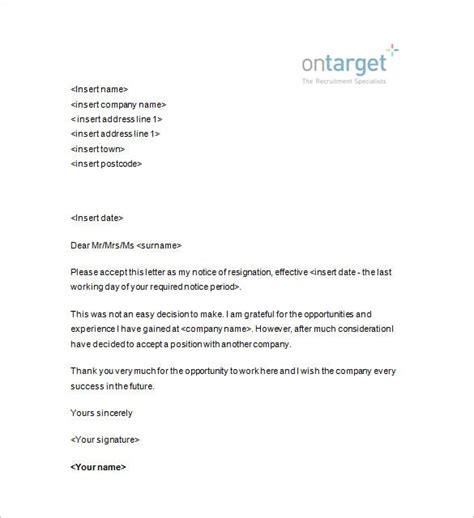 resignation notice templates