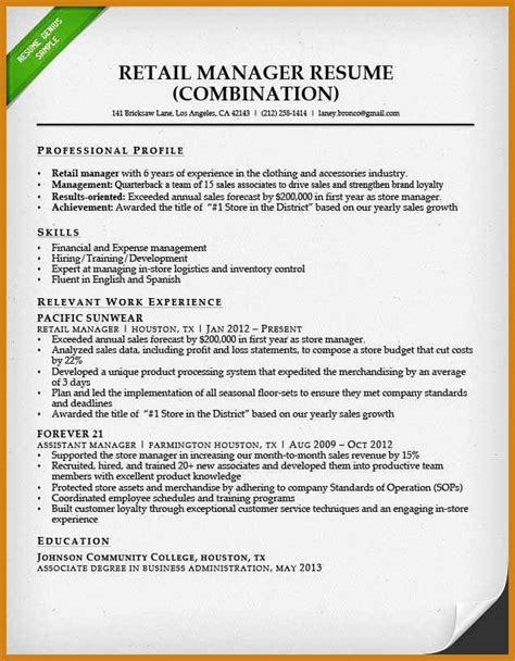 Sle Of Combination Resume Format sales associate resume skills letter format template