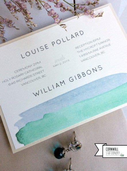 wedding invitations vancouver modern watercolour custom wedding invitation by cornwall