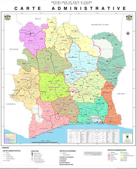 cote divoire c 244 te d ivoire administrative carte populationdata net