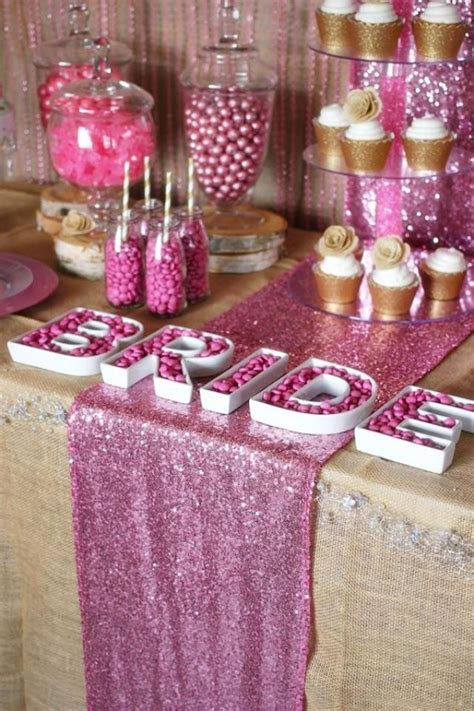 rustic wedding glam pink gold dessert table 2135049