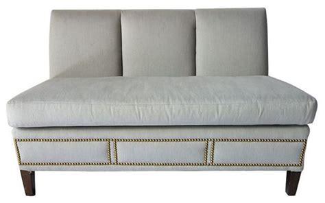 Upholstered Banquettes by Grey Upholstered Banquette With Nailhead Trim 3 800 Est