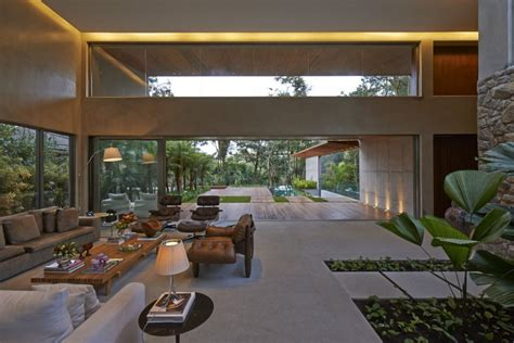 House Design With Interior Garden Brazil House With Luxe Garden And Outdoor Living Layout