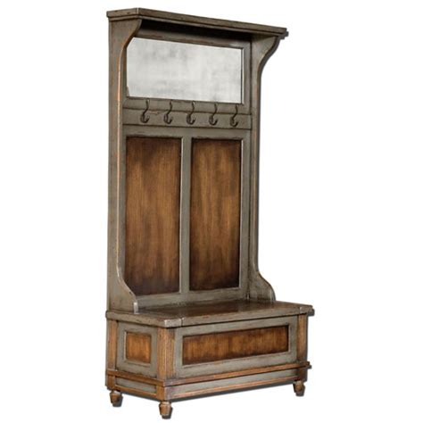 entry hall tree storage bench riyo mango wood entry hall bench with coat rack uttermost