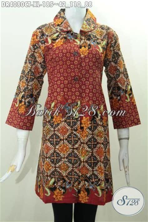 desain baju batik dewasa dress batik terbaru bagus desain mewah kerah bulat baju