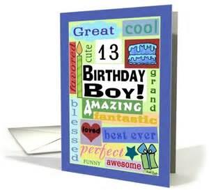 happy birthday for 13 year boy word subway card