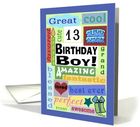Birthday Cards For 13 Year Boy Happy Birthday For 13 Year Old Boy Good Word Subway Art