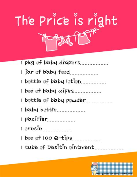 free printable price is right game for baby shower