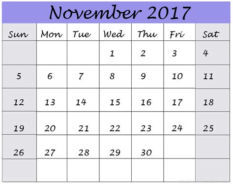 Calendar November 2017 And December 2017 November 2017 Printable Calendar Templates Printable